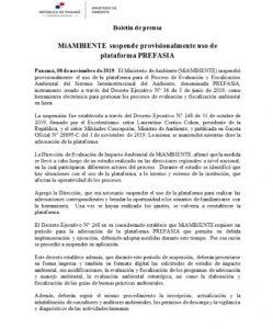 MiAMBIENTE suspende provisionalmente uso de plataforma PREFASIA